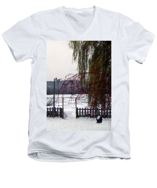 Willows And Berries In Winter Men's V-Neck T-Shirt by Desiree Paquette
