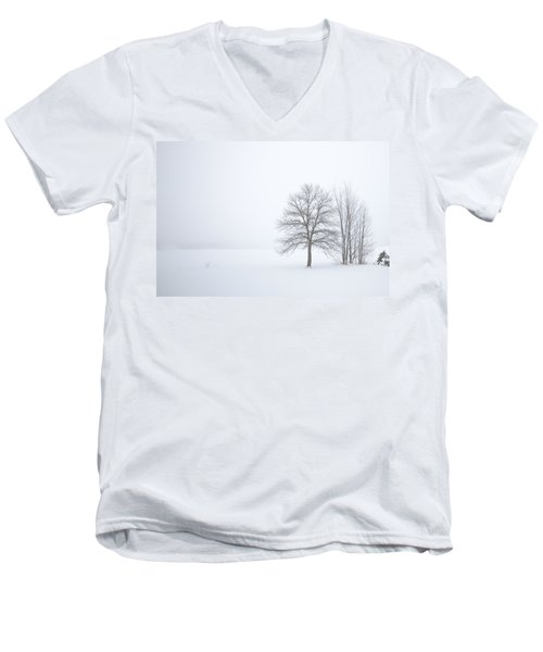 Winter Fog And Trees Men's V-Neck T-Shirt