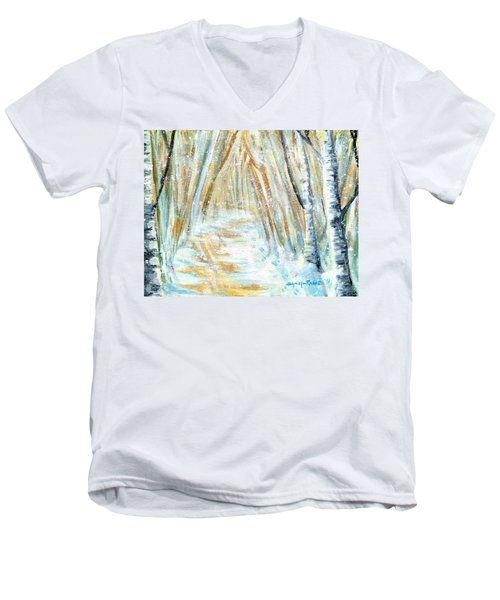 Men's V-Neck T-Shirt featuring the painting Winter by Shana Rowe Jackson