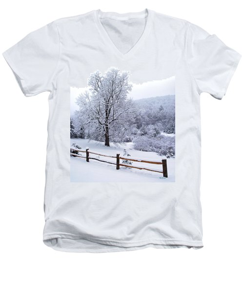 Winter Tree And Fence In The Valley Men's V-Neck T-Shirt