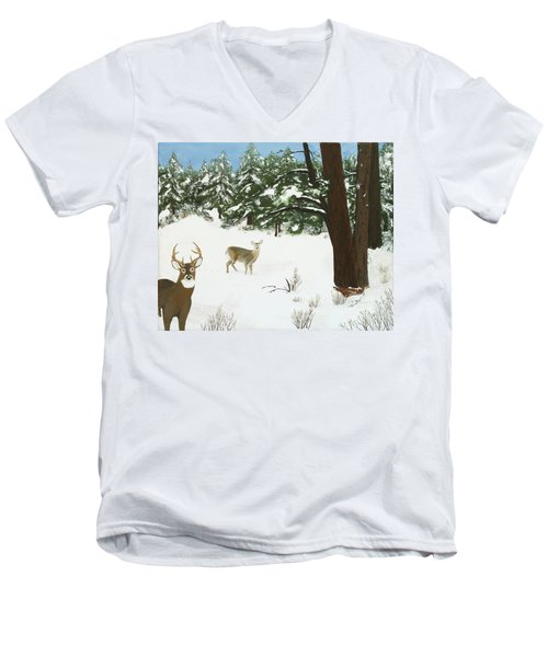 Wintering Whitetails Men's V-Neck T-Shirt