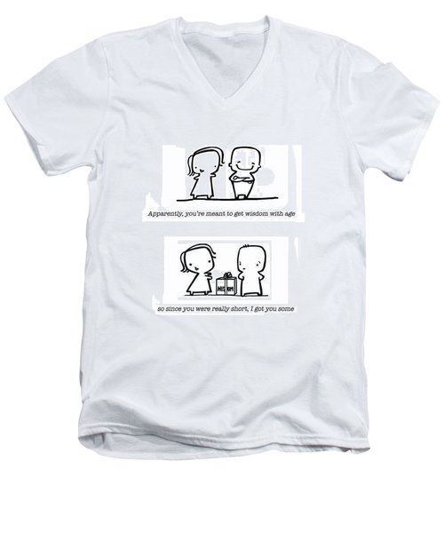 Men's V-Neck T-Shirt featuring the drawing Wisdom by Leanne Wilkes