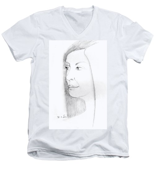 Woman In Black And White Long Hair Red Lips And Shoulders  Men's V-Neck T-Shirt by Rachel Hershkovitz