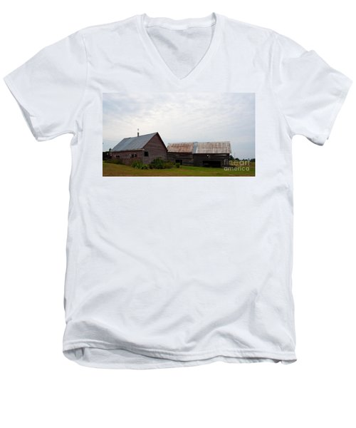 Men's V-Neck T-Shirt featuring the photograph Wood And Log Sheds by Barbara McMahon