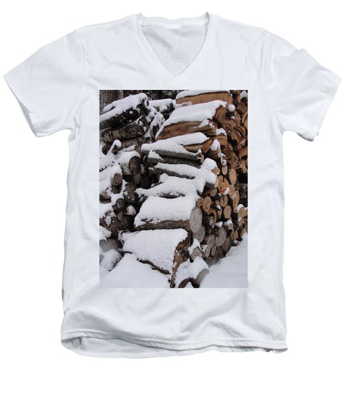 Men's V-Neck T-Shirt featuring the photograph Wood Pile by Tiffany Erdman