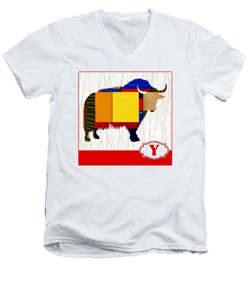 Y Is For Yak Men's V-Neck T-Shirt by Elaine Plesser