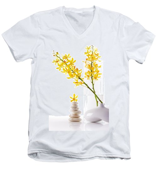 Yellow Orchid Bunchs Men's V-Neck T-Shirt