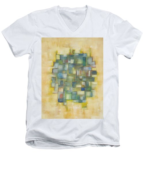 Yellow With Green  Men's V-Neck T-Shirt