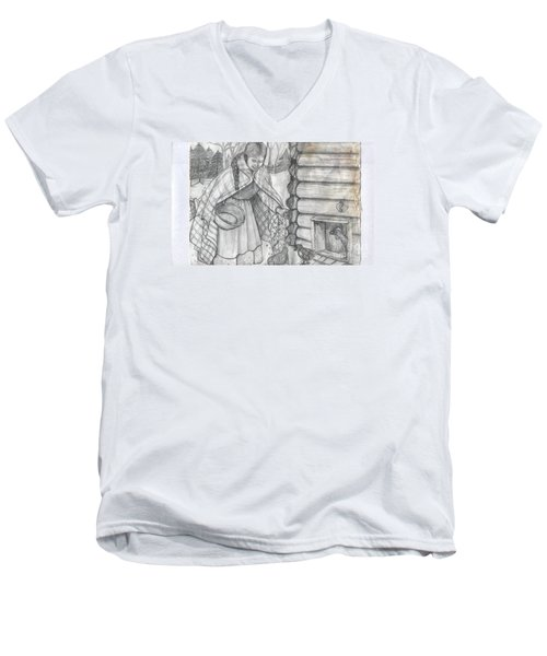 Young Girl Feeding The Chickens In The 1800's Men's V-Neck T-Shirt