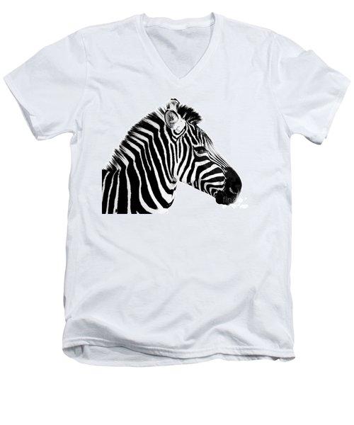 Men's V-Neck T-Shirt featuring the photograph Zebra by Rebecca Margraf