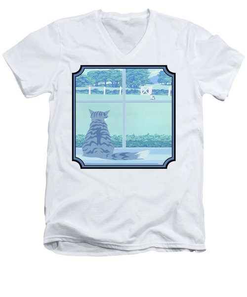 Abstract Cats Staring Stylized Retro Pop Art Nouveau 1980s Green Landscape - Square Format Men's V-Neck T-Shirt