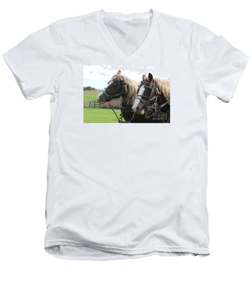 Men's V-Neck T-Shirt featuring the photograph  Belgian Horses by Yumi Johnson