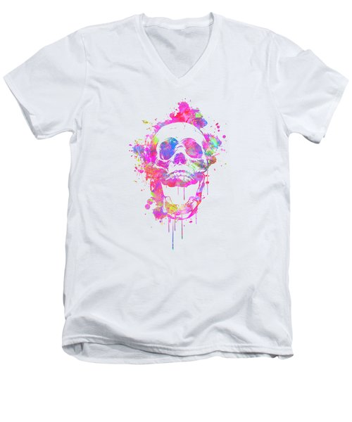 Cool And Trendy Pink Watercolor Skull Men's V-Neck T-Shirt by Philipp Rietz