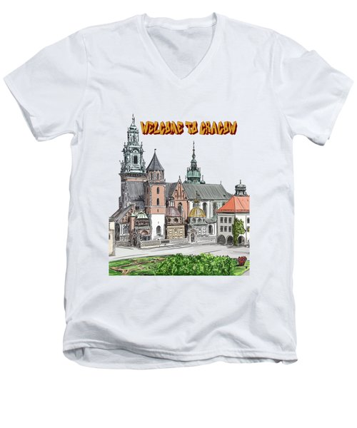 Men's V-Neck T-Shirt featuring the painting  Cracow.world Youth Day In 2016. by Andrzej Szczerski