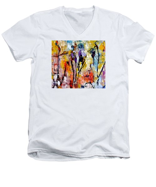 Crazy Messy Fall Yard Art Men's V-Neck T-Shirt by Lisa Kaiser
