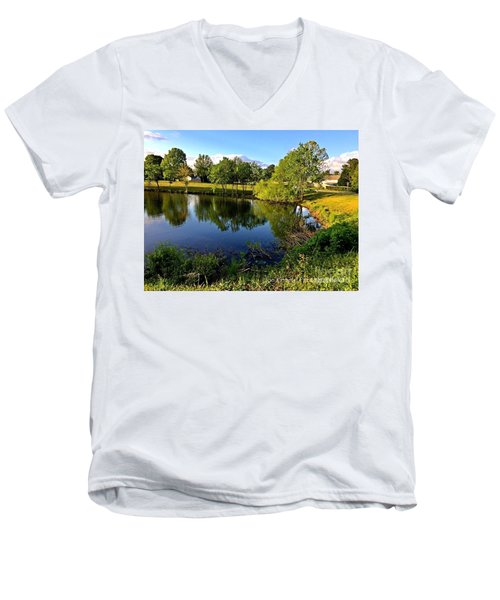 Men's V-Neck T-Shirt featuring the photograph  Cypress Creek - No.430 by Joe Finney