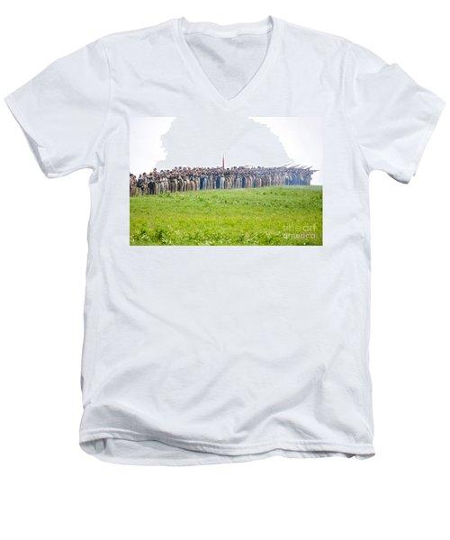 Gettysburg Confederate Infantry 0157c Men's V-Neck T-Shirt
