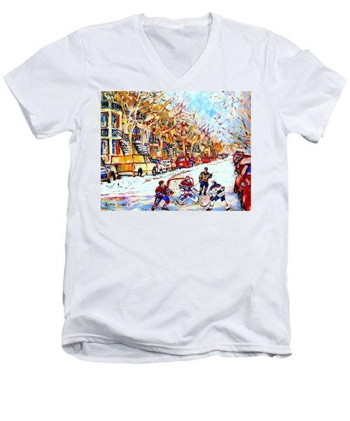 Hockey Game On Colonial Street  Near Roy Montreal City Scene Men's V-Neck T-Shirt