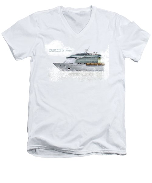 I've Been Nauticle On Independence Of The Seas On Transparent Background Men's V-Neck T-Shirt by Terri Waters