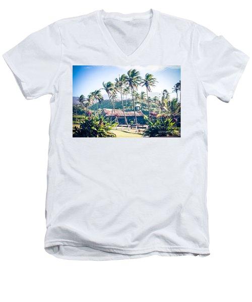 Men's V-Neck T-Shirt featuring the photograph  Lanakila 'ihi'ihi O Iehowa O Na Kaua Church Keanae Maui Hawaii by Sharon Mau