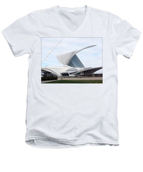 Men's V-Neck T-Shirt featuring the photograph  Milwaukee Art Museum by Kay Novy