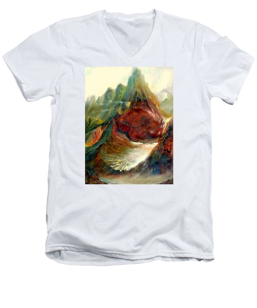 Men's V-Neck T-Shirt featuring the painting  Mountains Fire by Henryk Gorecki