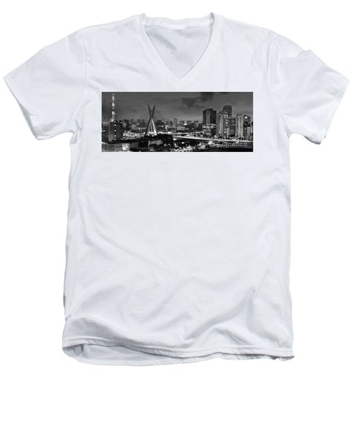 Sao Paulo Iconic Skyline - Cable-stayed Bridge - Ponte Estaiada Men's V-Neck T-Shirt