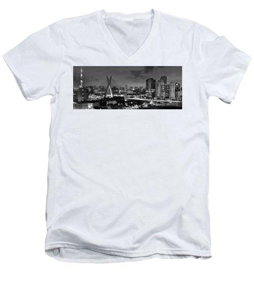 Sao Paulo Iconic Skyline - Cable-stayed Bridge - Ponte Estaiada Men's V-Neck T-Shirt