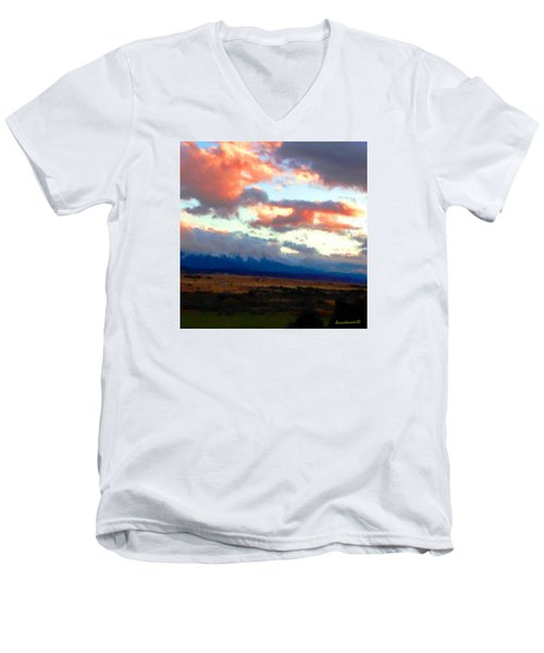 Sunset Clouds Over Spanish Peaks Men's V-Neck T-Shirt by Anastasia Savage Ealy