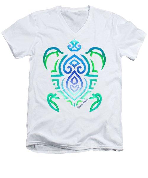 Tribal Turtle Men's V-Neck T-Shirt by Heather Schaefer
