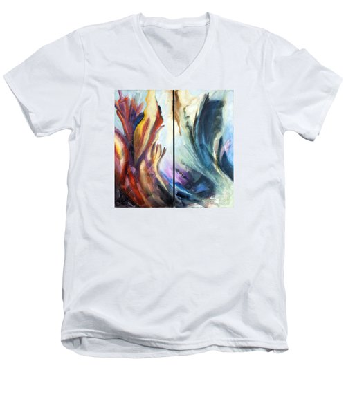 Men's V-Neck T-Shirt featuring the painting 01321 Fire And Waves by AnneKarin Glass