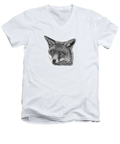 Men's V-Neck T-Shirt featuring the drawing 044 Vixie The Fox by Abbey Noelle