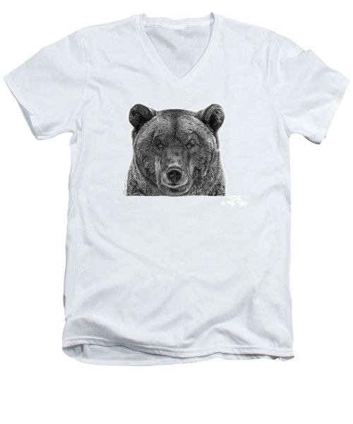 Men's V-Neck T-Shirt featuring the drawing 045 Papa Bear by Abbey Noelle