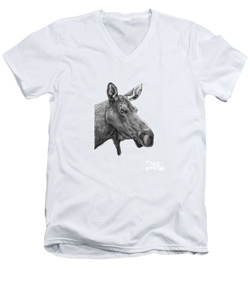 Men's V-Neck T-Shirt featuring the drawing 048 - Shelly The Moose by Abbey Noelle