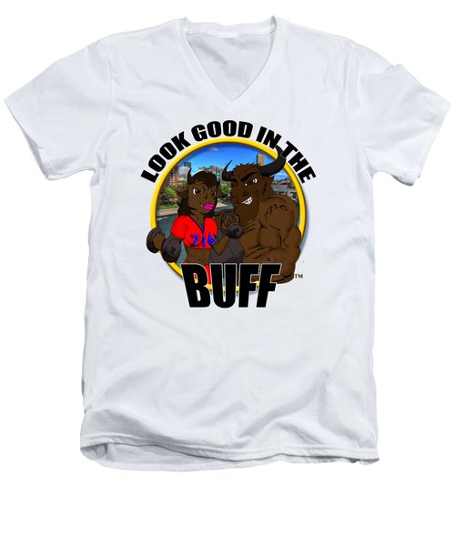 05 Look Good In The Buff Men's V-Neck T-Shirt by Michael Frank Jr