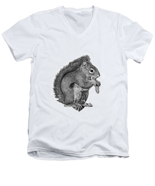 Men's V-Neck T-Shirt featuring the drawing 058 Sweeney The Squirrel by Abbey Noelle