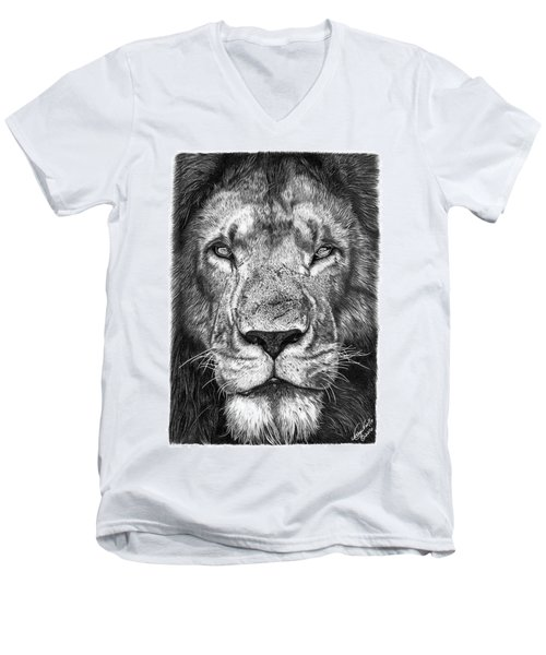 Men's V-Neck T-Shirt featuring the drawing 059 - Lorien The Lion by Abbey Noelle
