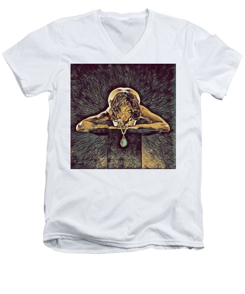 0756s-zac Nude Woman With Amulet On Tall Pedestal  Men's V-Neck T-Shirt by Chris Maher