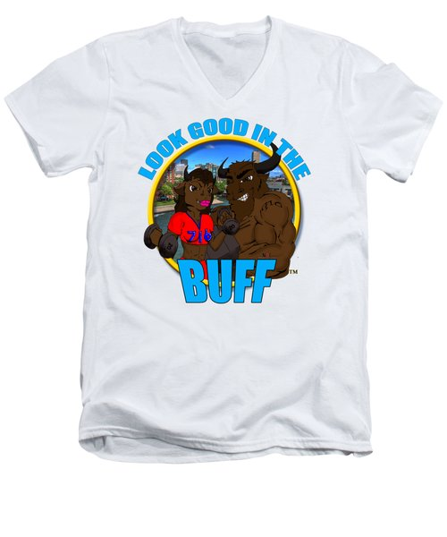 09 Look Good In The Buff Men's V-Neck T-Shirt by Michael Frank Jr