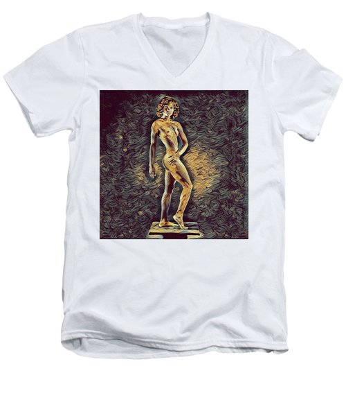 0957s-zac Fit Black Dancer Standing On Platform Men's V-Neck T-Shirt