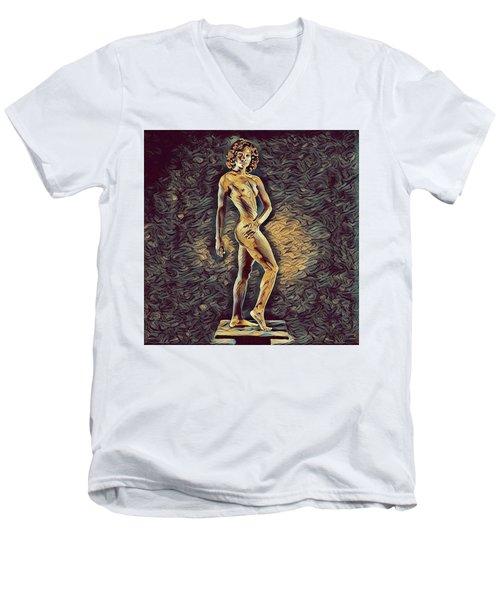 0957s-zac Fit Black Dancer Standing On Platform Men's V-Neck T-Shirt