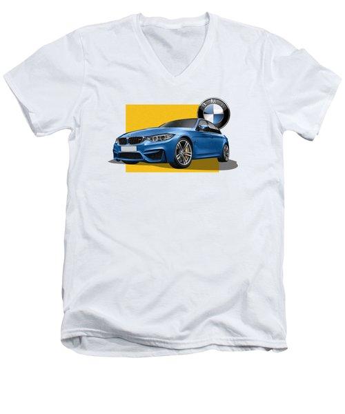 2016  B M W  M 3  Sedan With 3 D Badge  Men's V-Neck T-Shirt by Serge Averbukh