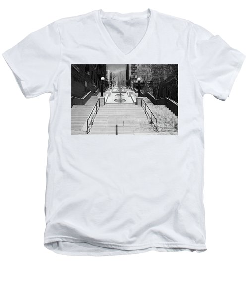 215th Street Stairs Men's V-Neck T-Shirt