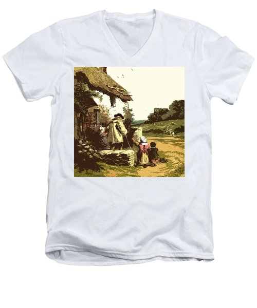 Men's V-Neck T-Shirt featuring the drawing A Walk With The Grand Kids by Digital Art Cafe