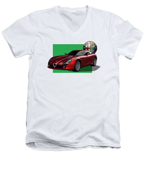 Alfa Romeo Zagato  T Z 3  Stradale With 3 D Badge  Men's V-Neck T-Shirt by Serge Averbukh