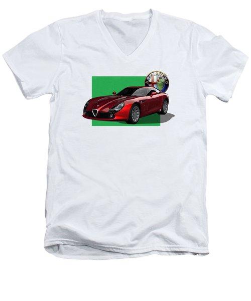Alfa Romeo Zagato  T Z 3  Stradale With 3 D Badge  Men's V-Neck T-Shirt