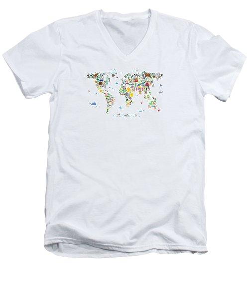 Animal Map Of The World For Children And Kids Men's V-Neck T-Shirt by Michael Tompsett