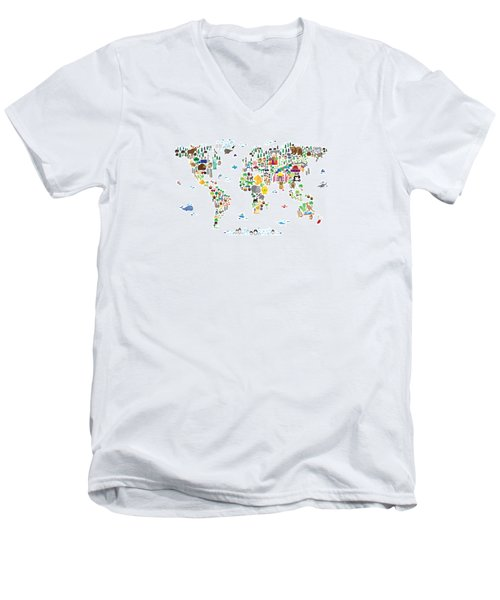 Animal Map Of The World For Children And Kids Men's V-Neck T-Shirt