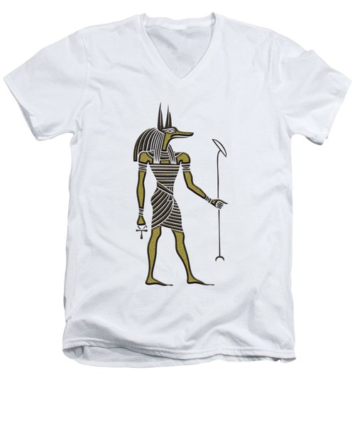 Men's V-Neck T-Shirt featuring the mixed media Anubis - God Of Ancient Egypt by Michal Boubin