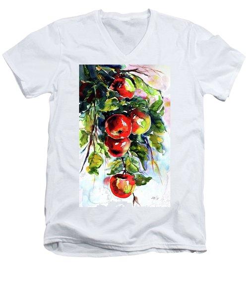 Apples Men's V-Neck T-Shirt by Kovacs Anna Brigitta